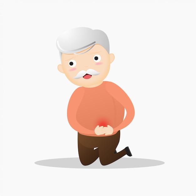 Magenschmerzenkonzept des alten mannes. Premium Vektoren