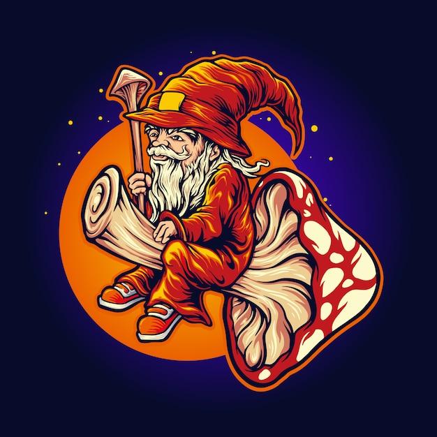 Magic mushroom shaman maskottchen fly illustrationen Premium Vektoren