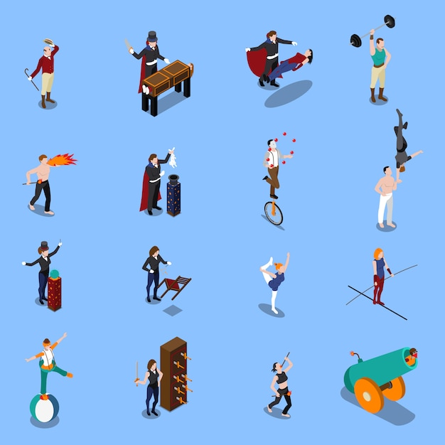 Magic show people isometric set Kostenlosen Vektoren