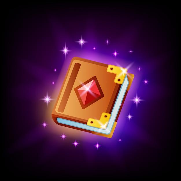 Magic spell book icon ui-element für spiel oder mobile app design auf dunklem hintergrund. märchenikone im karikaturstil Premium Vektoren