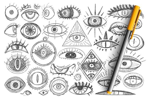 Magie und freimaurerei doodle set. sammlung von handgezeichneten geistigen augen und magischen symbolen für okkultismus isoliert Premium Vektoren
