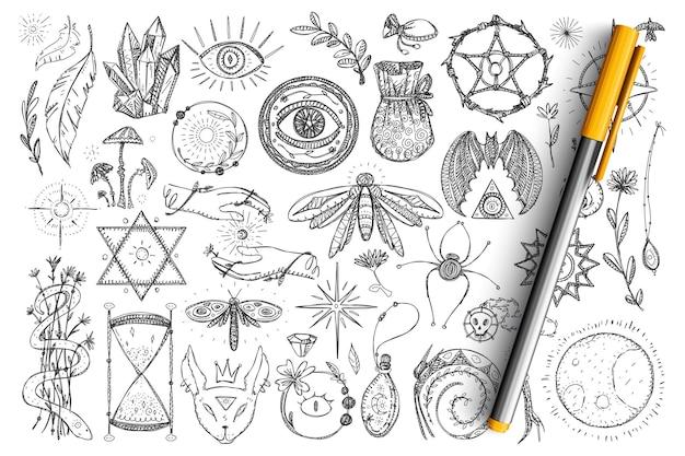 Magie und okkulte symbole gekritzel gesetzt. sammlung von handgezeichneten spirituellen augen, schlangen, kristallen, insekten und magischen symbolen für okkultismus isoliert Premium Vektoren