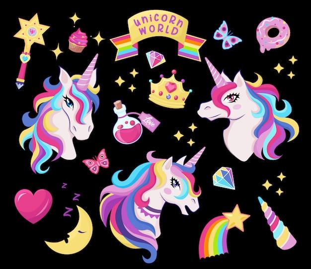 Magische einhorn-icon-set mit zauberstab, sterne mit regenbogen, diamanten, krone, halbmond, herz, schmetterling, dekor für mädchen geburtstag, Premium Vektoren