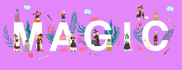 Magische inschrift große buchstaben auf, große feier, freudiger magiermann, lila zelt, illustration. kleine leute, hexenfrauen verschiedener nationalitäten, tränke in flaschen. Premium Vektoren