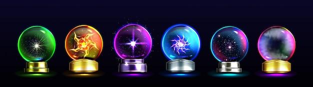 Magische kristallkugeln für wahrsagerei und zukunftsvorhersage Kostenlosen Vektoren