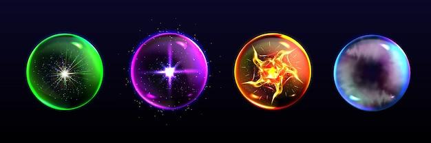 Magische kugeln, kristallkugeln in verschiedenen farben mit funkeln Kostenlosen Vektoren