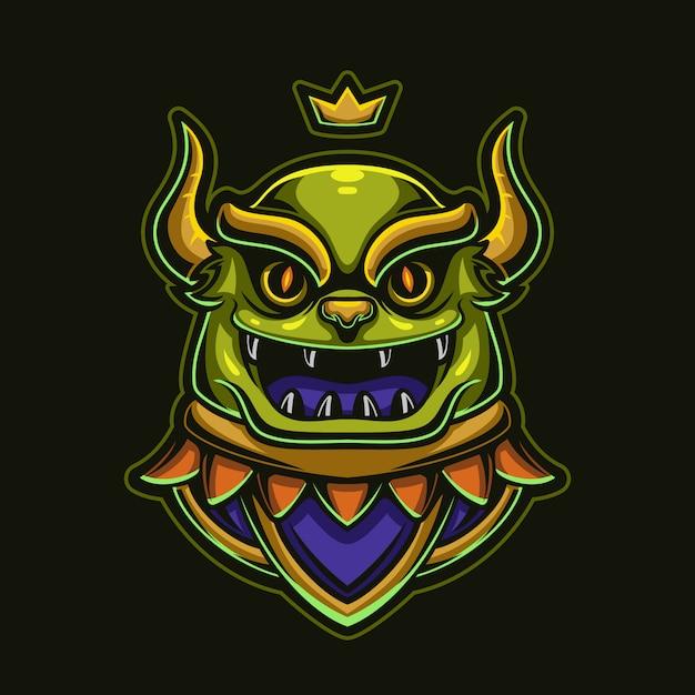 Magische monsterkopfkarikaturlogoschablonenillustration. esport logo gaming Premium Vektoren