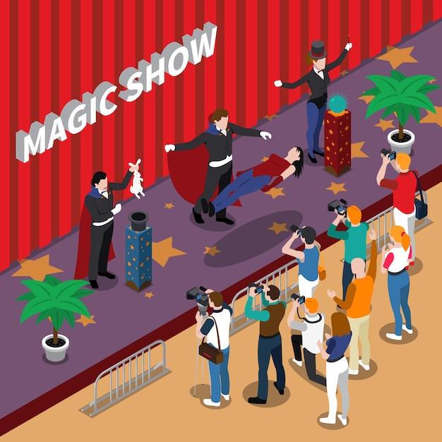 Magische show isometrische illustration Kostenlosen Vektoren