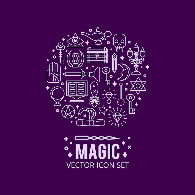 Magische symbole festgelegt. funkeln magische lichter. geheimnis wunder Kostenlosen Vektoren