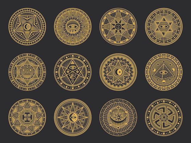 Magische symbole mit alchemie und okkulter wissenschaft, esoterischer religion und astrologie Premium Vektoren