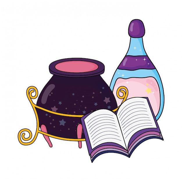 Magischer hexenkessel mit trankflasche und -buch Premium Vektoren