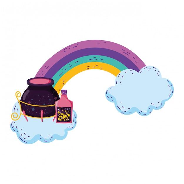 Magischer hexenkessel mit trankflaschen im regenbogen Premium Vektoren