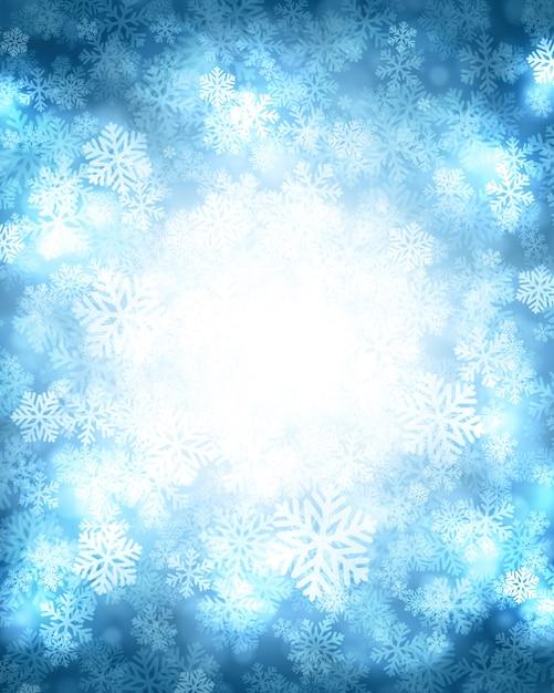 Magischer schnee des weihnachtswinter-hintergrundes funkelt lichter und schneeflocken Premium Vektoren