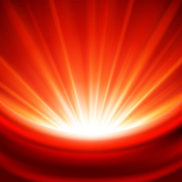 Magisches glühen der strahlen der roten lichter der feier mit silk gewebe und illustration Premium Vektoren