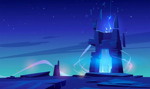 Magisches portal auf berggipfel oder fremder planetenoberfläche, futuristischer landschaftshintergrund mit glühendem eingang im felsen unter sternenhimmel. fantasy-buch oder computerspielszene, cartoon-vektor-illustration Kostenlosen Vektoren