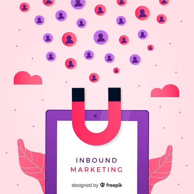 Magnet inbound marketing hintergrund Kostenlosen Vektoren
