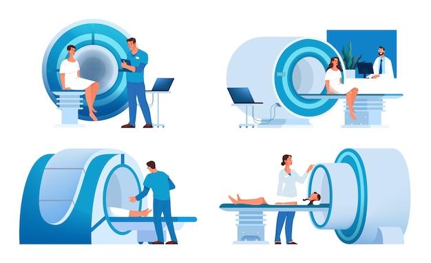 Magnetresonanztomographie. medizinische forschung und diagnose. moderner tomographiescanner. mrt-konstruktion. Premium Vektoren