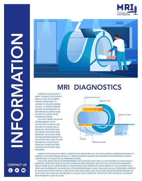 Magnetresonanztomographie werbung und infografik banner. medizinische forschung und diagnose. moderne tomographische scannerkonstruktion. mrt-kontraindikationen. ärzte. einstellen Premium Vektoren