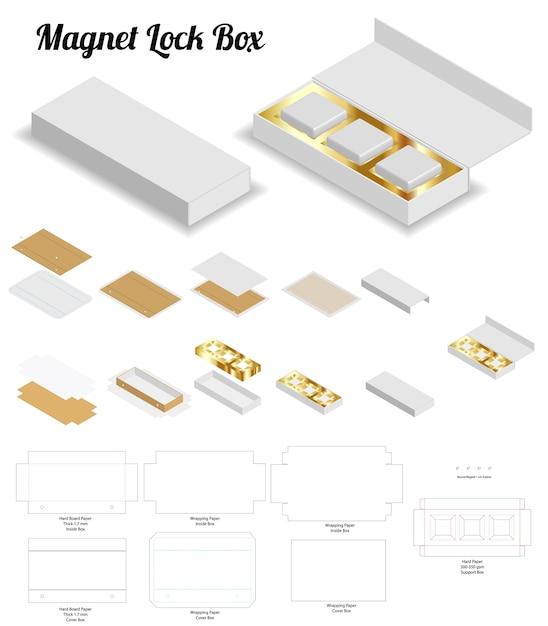 Magnetverschluss starre box 3d-modell mit dieline Premium Vektoren