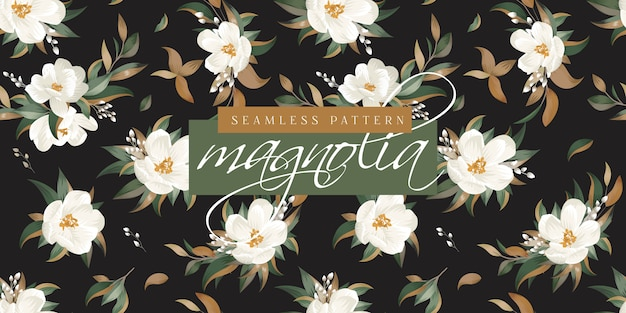 Magnolien-nahtloses muster Premium Vektoren