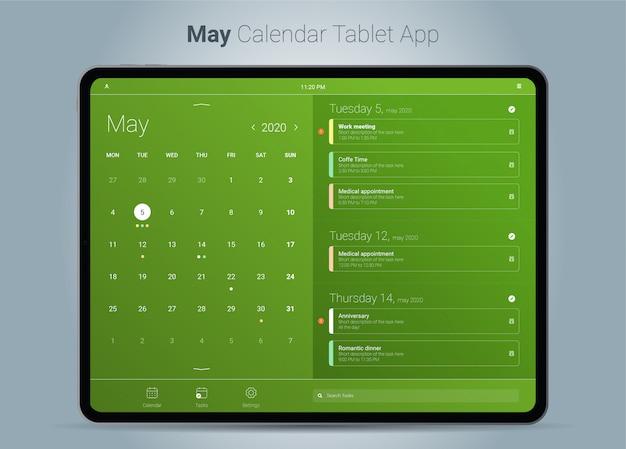 Mai kalender tablet app-oberfläche Premium Vektoren
