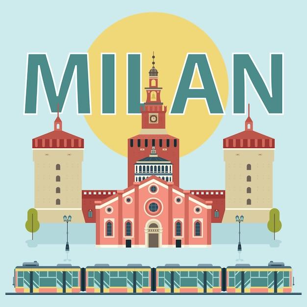Mailand sehenswürdigkeiten illustration Kostenlosen Vektoren