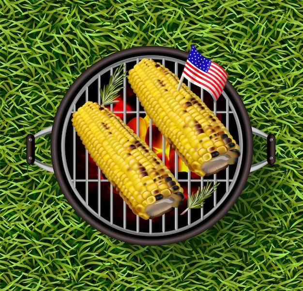 Mais auf dem grill Premium Vektoren