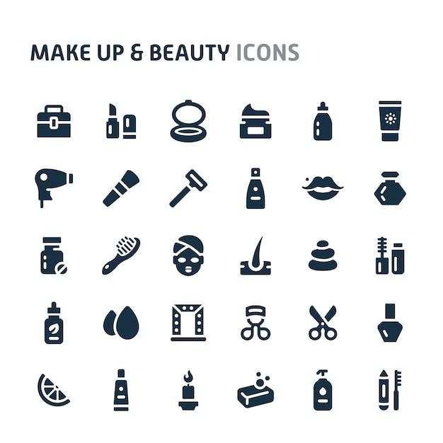 Make-up & beauty icon set. fillio black icon-serie. Premium Vektoren