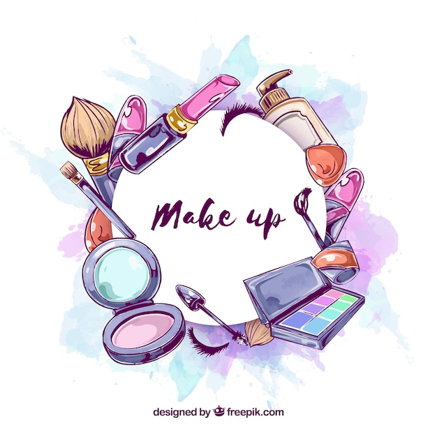 Make-up hintergrund im aquarell-stil Kostenlosen Vektoren