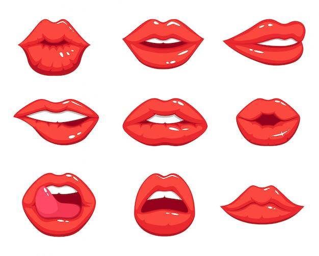 Make-up-illustrationen im cartoon-stil. schöne lächelnde reizvolle weibliche lippen Premium Vektoren