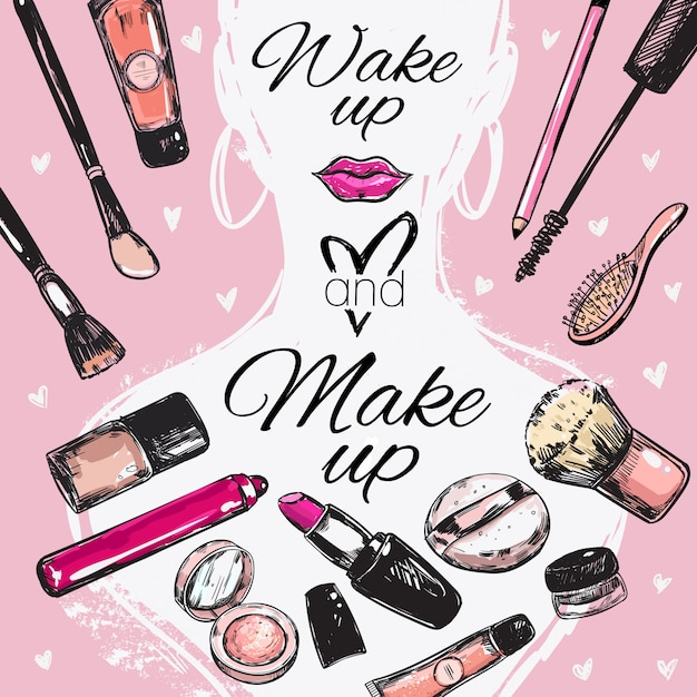 Make up kosmetik poster Kostenlosen Vektoren