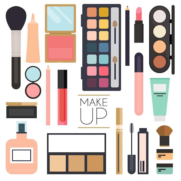 Make-up-kosmetik und pinsel auf weißem hintergrund. Premium Vektoren