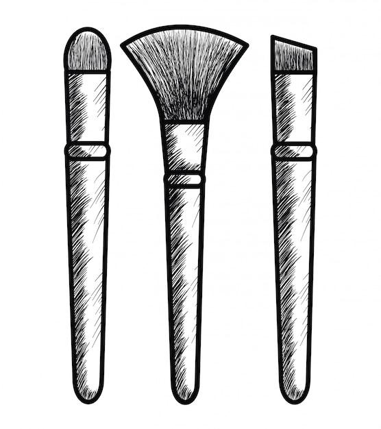 Make-up pinsel zeichnungssymbol Kostenlosen Vektoren