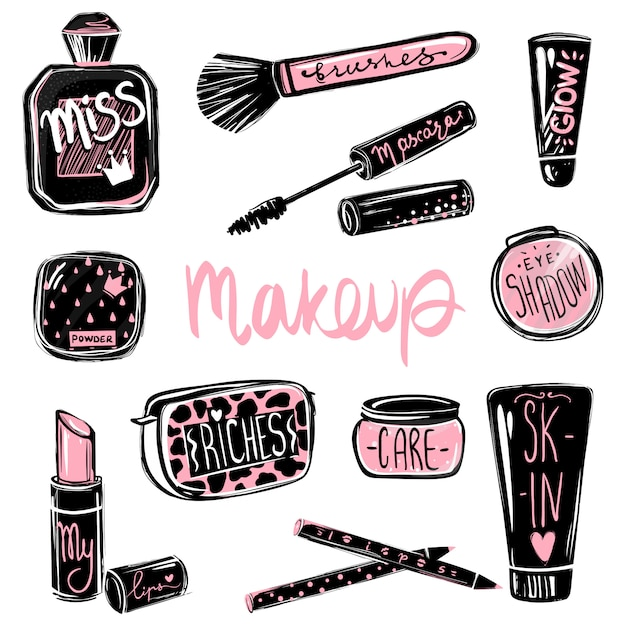 Make-up vektor festgelegt. kosmetik beauty-elemente. schöne modeillustration Premium Vektoren