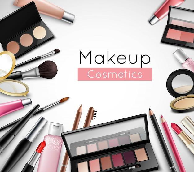 Make-upkosmetikschönheitstaschenzubehör Kostenlosen Vektoren