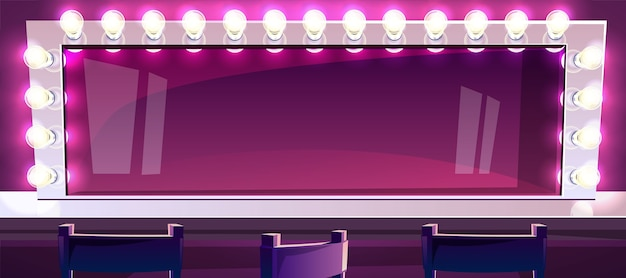 Make-upspiegel mit lampenillustration des schauspieler- oder sängerschönheitsmode-studioraumes Kostenlosen Vektoren