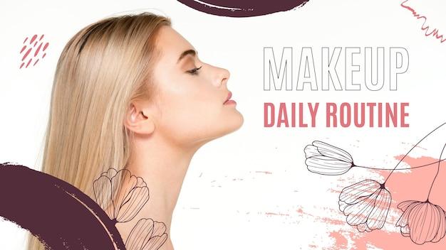 Makeup youtube thumbnail vorlage Kostenlosen Vektoren