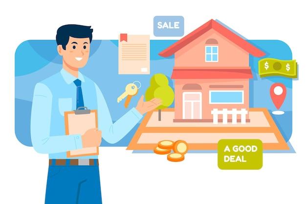 Maklerhilfe mit mann und haus Kostenlosen Vektoren