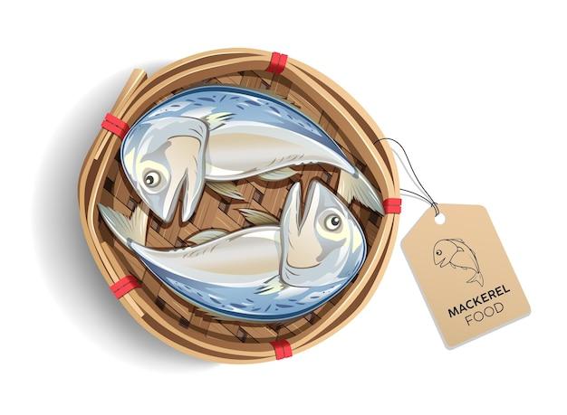 Makrele in bambuskorbverpackung, mit braunem etikettfischprodukt, lokalisiert auf weißem hintergrund, populäres essen in thailand Premium Vektoren