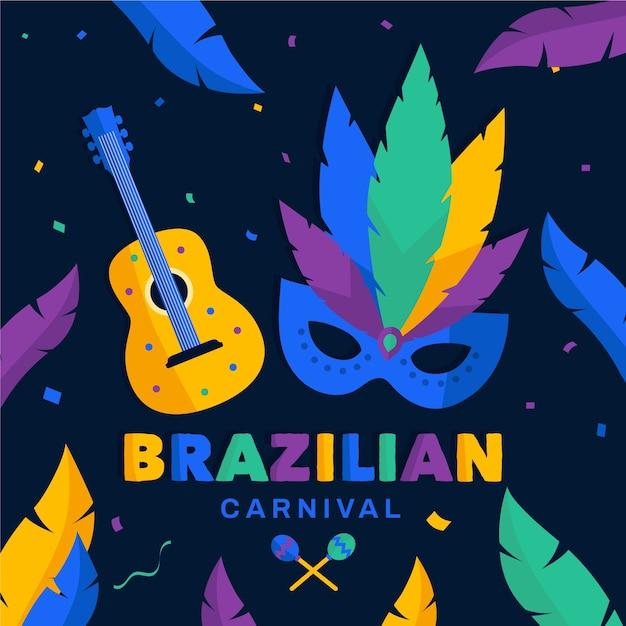 Maks und gitarrenthema für brasilianischen karneval Kostenlosen Vektoren