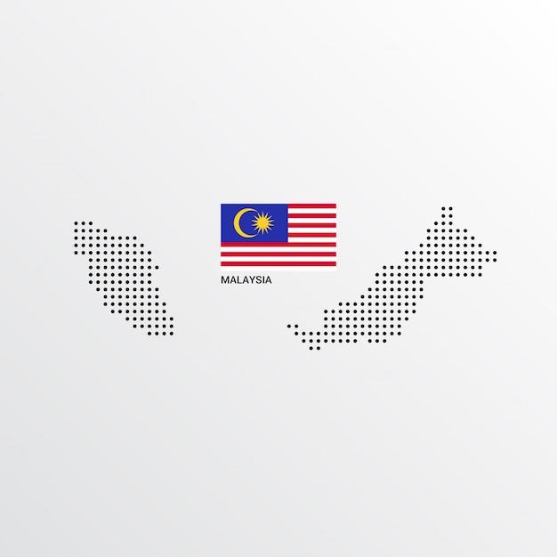 Malaysia-kartenentwurf mit flaggen- und hellem hintergrundvektor Kostenlosen Vektoren