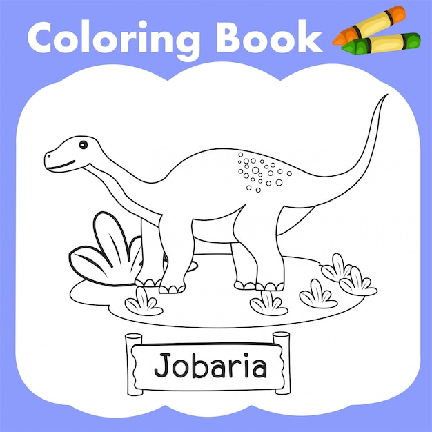 Malbuch dinosaurier jobaria Premium Vektoren