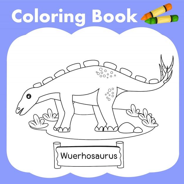 Malbuch dinosaurier wuerhosaurus Premium Vektoren