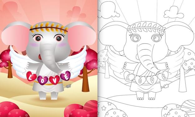 Malbuch für kinder mit einem niedlichen elefantenengel unter verwendung des amor-kostüms, das herzformfahne hält Premium Vektoren