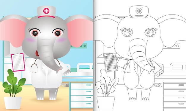 Malbuch für kinder mit einem niedlichen elefantenkrankenschwestercharakter Premium Vektoren