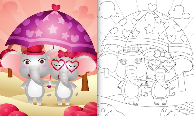 Malbuch für kinder mit einem niedlichen elefantenpaar, das regenschirm themenorientierten valentinstag hält Premium Vektoren