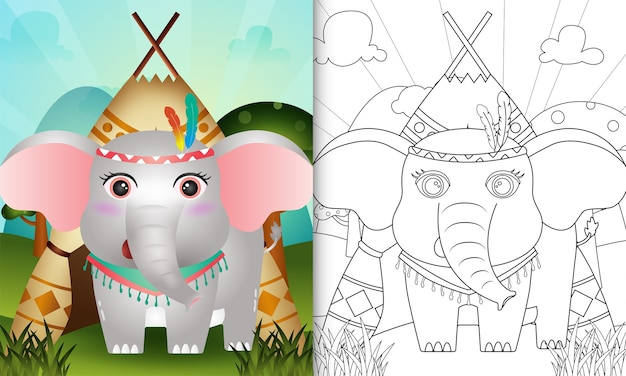 Malbuch für kinder mit einem niedlichen stammes-boho-elefantencharakter Premium Vektoren