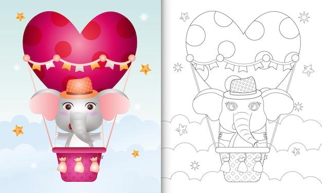 Malbuch mit einem niedlichen elefantenmann am heißluftballon lieben themenorientierten valentinstag Premium Vektoren