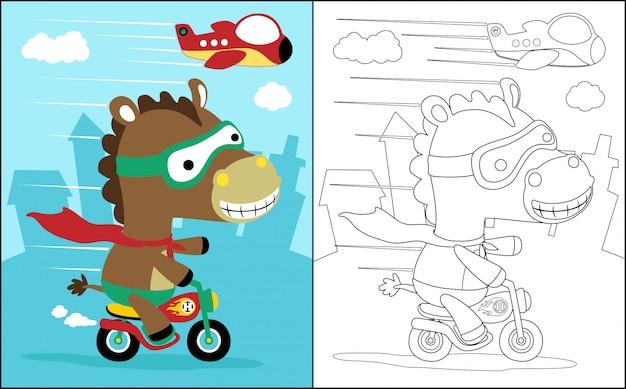 Malbuch mit pferd der radfahrer Premium Vektoren