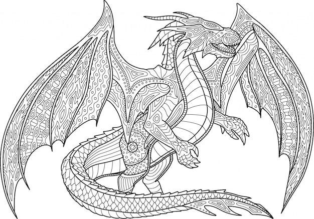 Malbuchseite mit drachen auf weißem hintergrund Premium Vektoren